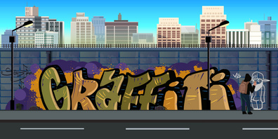 Graffiti wall background, urban art, vector nature background for games.Vector Illustration for your application , project.