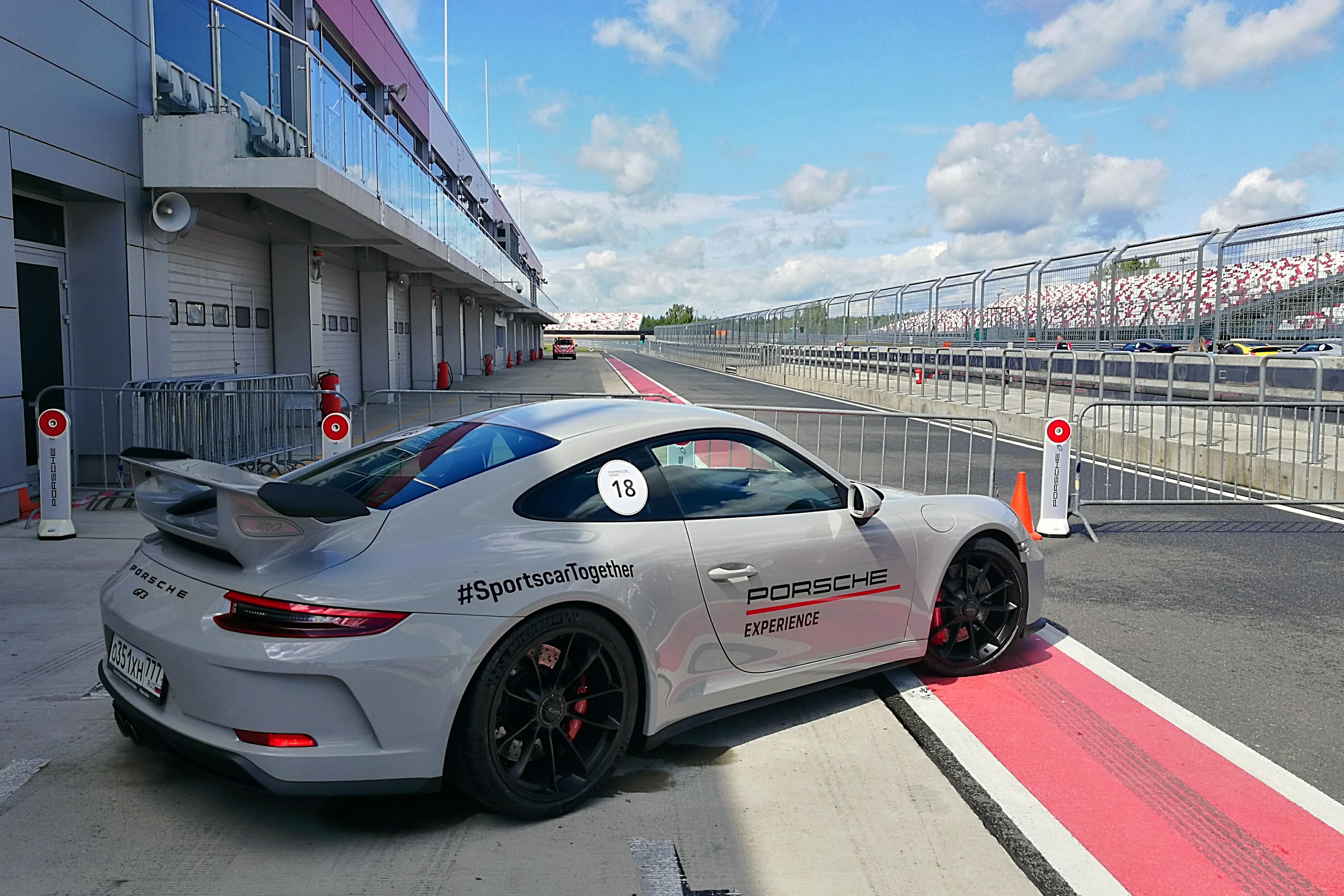 GT3. Этот тректул доступен в продвинутой программе обучения Porsche Experience Center Russia. 500 сил, атмосфера!